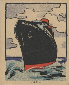 Paquebot Normandie - CARTES PUBLICITAIRES PETITS FORMATS - PETIT DEJEUNER BANANIA N43