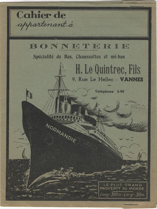 Paquebot Normandie - Protège-cahier BONNETERIE LE QUITREC, FILS - VANNES