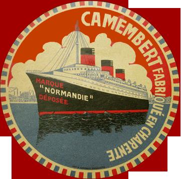 Paquebot Normandie - Etiquette de fromage : `NORMANDIE` - FABRIQUE EN CHARENTE - N2