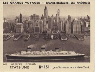 Paquebot Normandie - CARTES PUBLICITAIRES PETITS FORMATS - CHOCOLAT MARLIEU N151