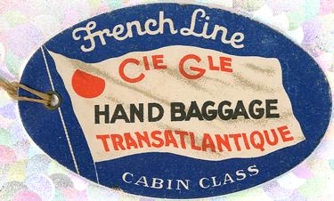 PAQUEBOT S.S NORMANDIE - ETIQUETTE DE BAGAGE TRAIN PAQUEBOT 1ère CLASSE PETIT FORMAT OVALE 2-2-1 Recto