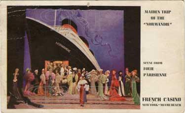 Paquebot S.S. NORMANDIE - Carte publicitaire FRENCH CASINO - Spectacle `Folie Parisienne` - New York / Miami Beach - Editeur : LONCACRE PRESS, INC. - Réf. Site : LONGP-SPE-USA-1-1 PSB