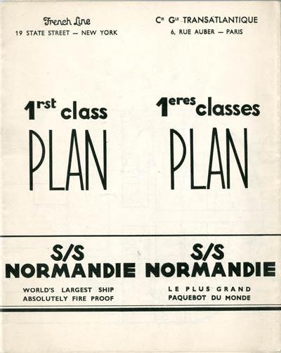 S.S NORMANDIE - PLAN DES 1ères CLASSES - NOIR ET BLANC EDITION 1935