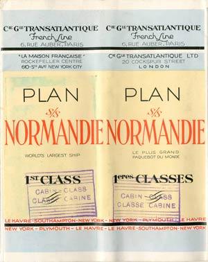 PAQUEBOT S.S NORMANDIE - PLAN 1ère CLASSE COULEURS JUILLET 1935 - COUV. FERMEE